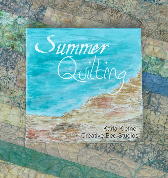 Image of painted beach scene on quilt